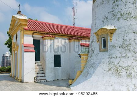 Exterior of the Guia Lighthouse and Church in Macau, China.