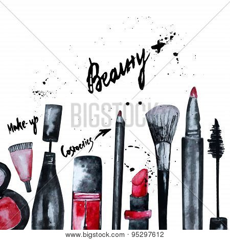 Vector Watercolor Glamorous Make Up Set Of  Cosmetics With Nail Polish And Lipstick.creative Design