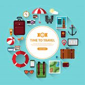Icon set of traveling, planning a summer vacation, journey in holidays. Tourism and journey objects, items and passenger luggage. Flat design vector illustration background with long shadows poster