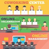 Coworking center, online collaboration, online management flat illustration concepts set. Flat design concepts for web banners, web sites, printed materials, infographics. Creative vector illustration poster