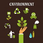 Conservation and environment flat concept with a human hand holding green tree surrounded by bio fuel, recycling, green energy, pollution, industry, emissions icons poster