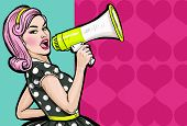 Pop art girl with megaphone. Woman with loudspeaker. Girl announcing discount or sale. Shopping time. Protest, meeting, feminism, woman rights, woman protest, girl power. poster