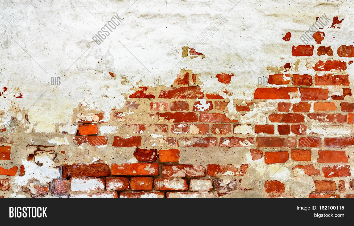 Brick Wall With White Uneven Stucco Red Background Old Vintage