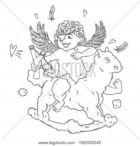 Valentine's day. Funny Cupid with patch on the knee on a cloud horse shoots with a slingshot. Vector illustration isolated on white background. Card. Coloring page.