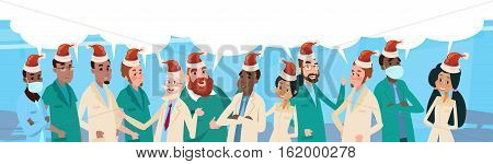 Group Medial Doctors Team With Chat Box Wear Santa Claus Hat Merry Christmas And Happy New Year Banner Vector Illustration