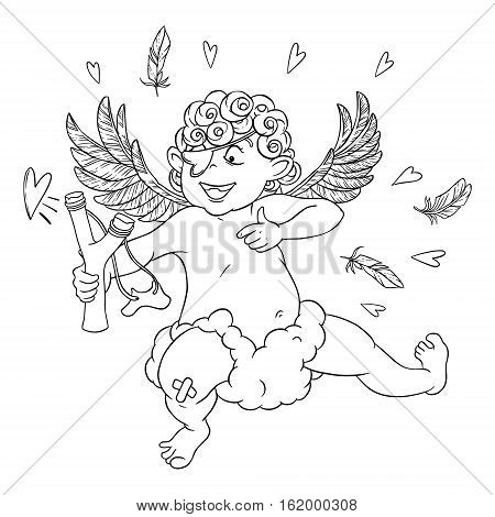 Valentine's day. Funny Cupid with patch on the knee on a cloud shoots with a slingshot. Vector illustration isolated on white background. Card. Coloring page.