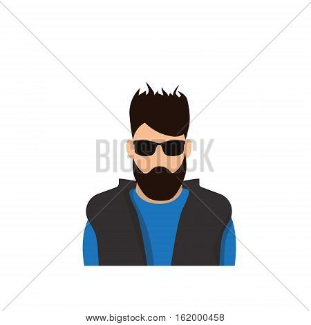 Profile Icon Male Avatar Man, Hipster Cartoon Guy Beard Portrait, Casual Person Silhouette Face Flat Vector Illustration