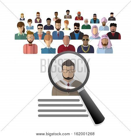 Recruitment Zoom Magnifying Glass Picking Business Person Candidate People Group Flat Vector Illustration