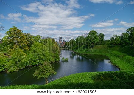 Canal Around Kastellet, A Fortress In Copenhagen. Denmark