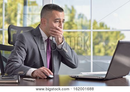 Portrait Of A Failed Unhappy Businessman In His Office