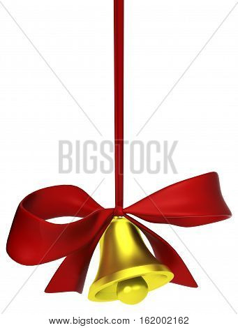 Bell with red ribbon tied bow 3d illustration isolated vertical over white