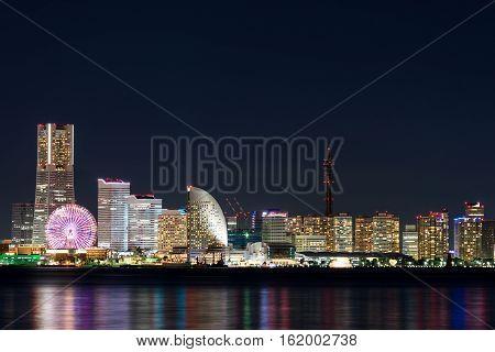 Nightview of Minato Mirai area of Yokohama City in Kanagawa, Japan.