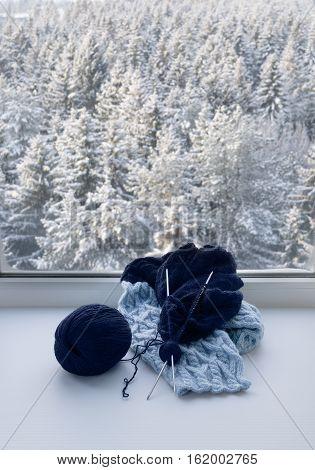 Knitting On Windowsill
