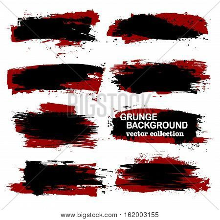 Large grunge elements set. Brush strokes banners borders splashes splatters Vector collection