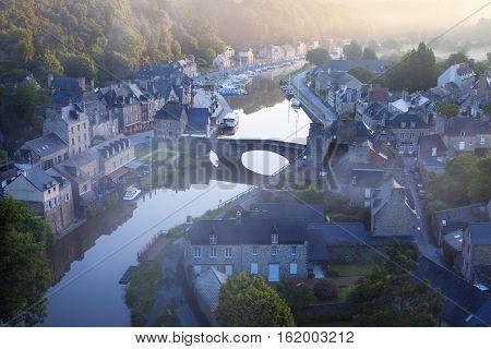 Panorama of Dinan at sunrise. Dinan Brittany France
