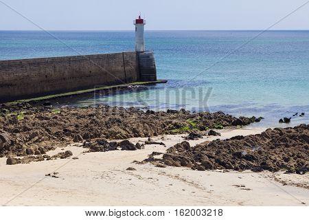 Small lighthouse in Trescadec. Trescadec Brittany France.