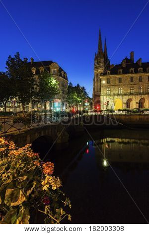 Quimper Cathedral at night. Quimper Brittany France.