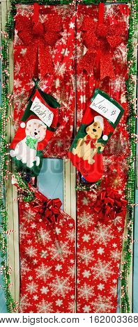 A private Catholic High School allows their seniors to decorate their lockers for Christmas