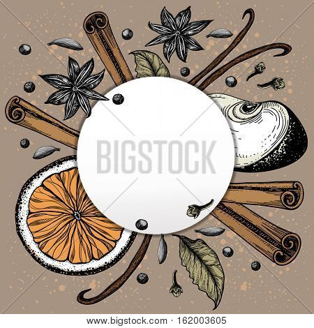 Christmas spice. Frame with slices of fruit and spices. Mulled wine and its components. Vector illustration.
