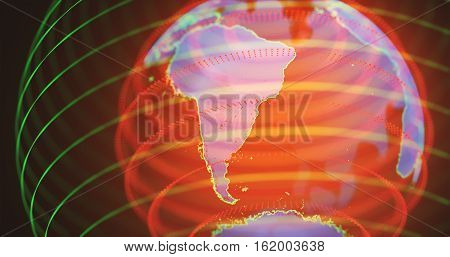 3D illustration. Hologram of planet earth in warm colors. South America in focus.