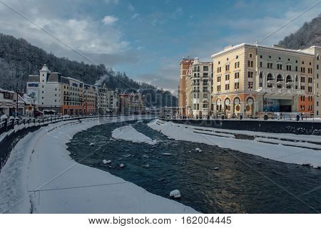 Rosa Khutor, Sochi, Russia, December 17 2016 Winter in the Caucasian mountains