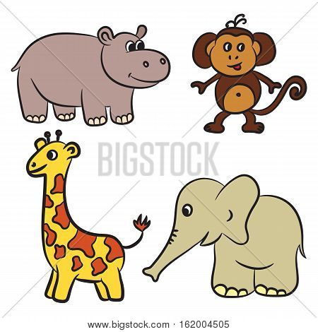 Cute zoo animals collection. Vector illustration on white background
