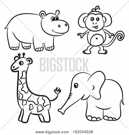 Cute outlined zoo animals collection. Vector illustration