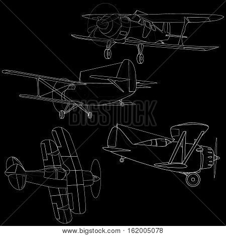 Bi plane image collection isolated on sky.