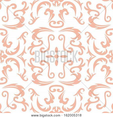Damask seamless classic pattern. Vintage Baroque delicate background. Classic damask ornament for wallpapers textile fabric wrapping wedding invitation. Exquisite floral baroque template.
