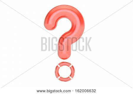 Business support and consulting help concept. Question mark with lifebuoy 3D rendering isolated on white background