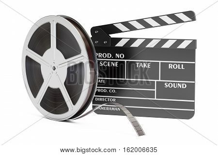 Cinema concept. Clapperboard with film reels 3D rendering isolated on white background