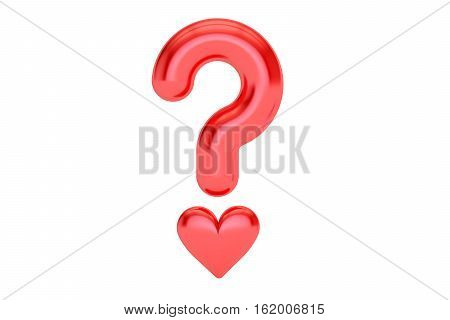 Love or not concept. Question mark with heart 3D rendering isolated on white background