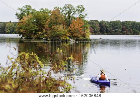 East Providence Rhode Island USA - October 13 2008: Kayaker enjoying the day at Turner Reservoir