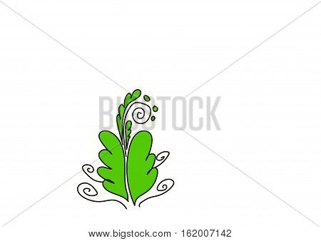 Ornate green bush with curls on a white background.