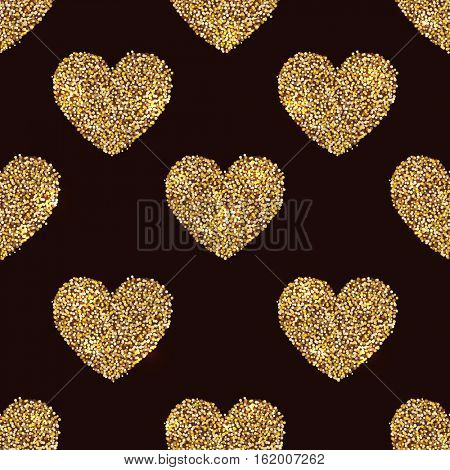 Seamless heart shapes made of gold tinsel on black background. Vector illustration. Valentines Day card background or present wrapping paper template.