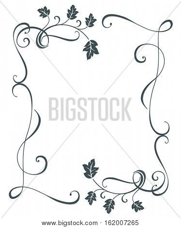 Vintage oak tree leaves floral frame vector template. Black and white border swirly ornament.
