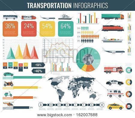 Transportation Infographics set. Individual and public transport with world map, graphs and charts. Vector illustration