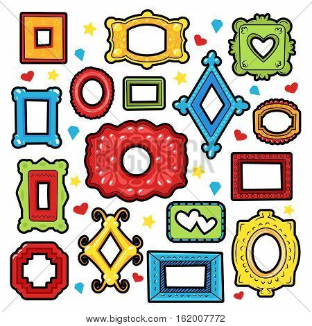 Vintage Frames Decorative Elements for Scrapbook, Stickers, Patches, Badges. Vector Doodle