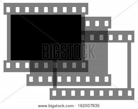 The photographic film on a white background