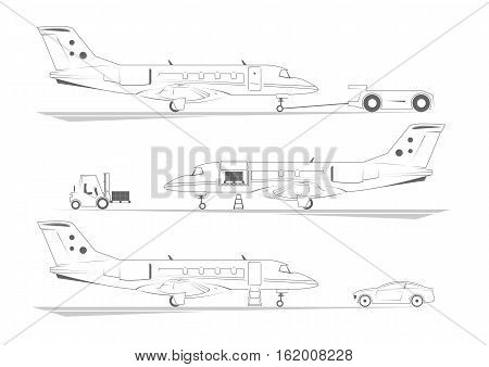 Aircraft banners. Three scenes at airport. Vector illustration.