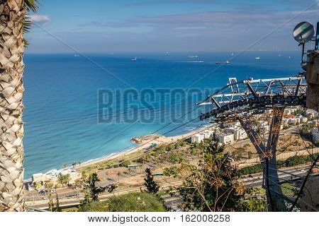 Panoramic view of the Mediterranean sea Haifa Bay and Bat Galim neighborhood from slopes of Mount Carmel Stella Maris Cable car in Haifa Israel