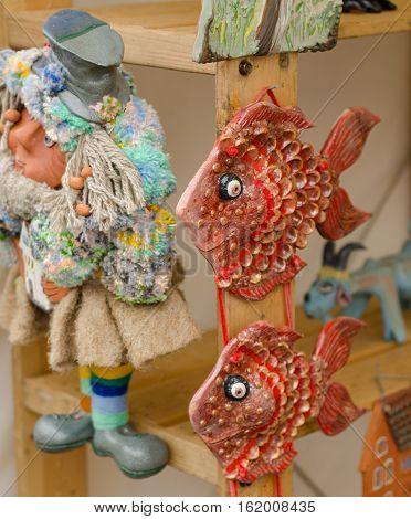 Ceramic fish at the fair in Russia