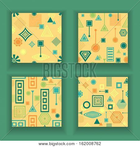 Set Abstract seamless patterns from geometric form in postmodern Memphis Style blue green on yellow beige for wallpaper or package or for clothes or for creative design abstract city in retro colors poster