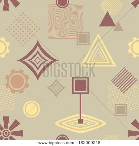 Abstract seamless pattern from geometric form in postmodern Memphis Style coffee colors for wallpaper or package or for clothes or for creative design abstract city or cafe