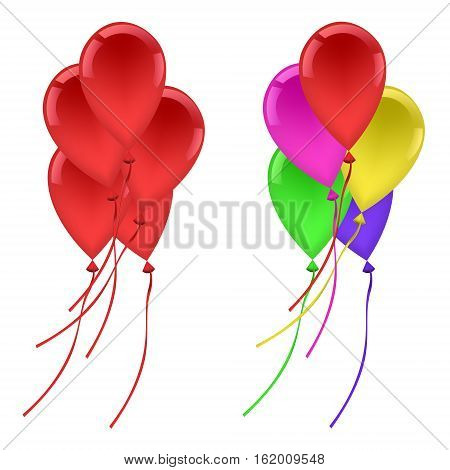 Balloons set five red ballons five multi-color ballons holiday celebration