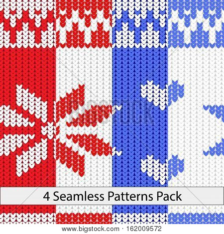 Four color snow knit seamless pattern red white and blue colors