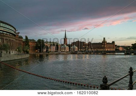 STOCKHOLM, SWEDEN - JULY 7, 2016: This is view of the island Riddarholmen in the bright summer night.
