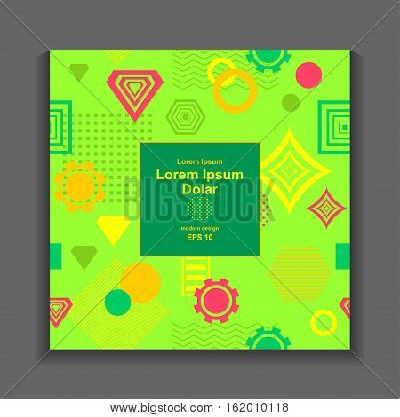 Template flyer or frame with Abstract  pattern from geometric form in postmodern Memphis Style on green for package or for creative design abstract city or summer