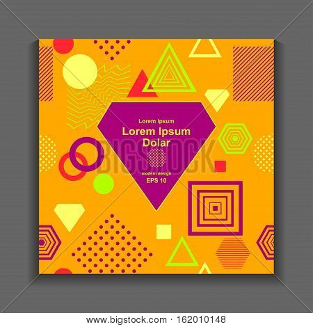 Template flyer or frame with Abstract  pattern from geometric form in postmodern Memphis Style on orange for package or for creative design abstract city or autumn