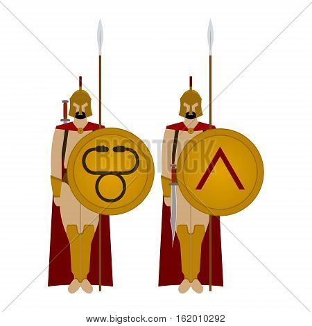 Soldiers of Sparta with the weapon. The illustration on a white background.